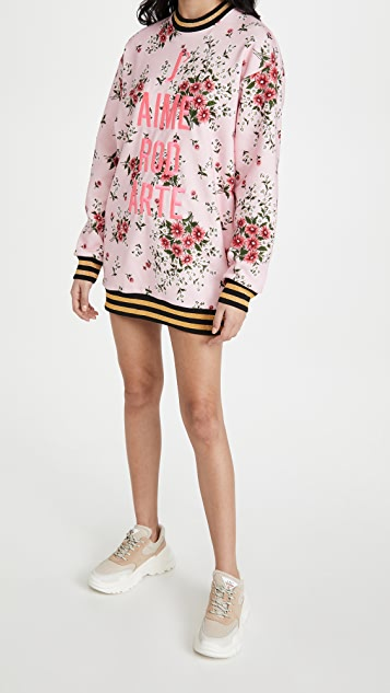 Rodarte 粉色花卉雏菊印花运动衫连衣裙
