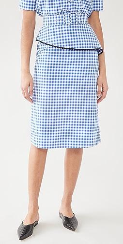 Rodarte - 格子裙身搭配蓬蓬荷叶边和蕾丝饰边(腰带)