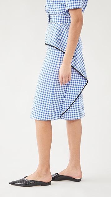 Rodarte 格子裙身搭配蓬蓬荷叶边和蕾丝饰边(腰带)
