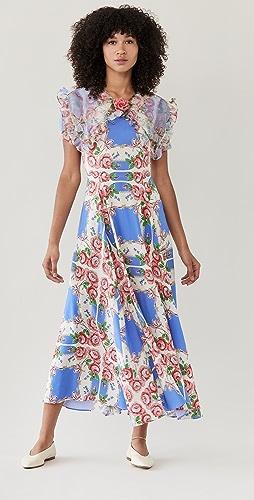 Rodarte - 粉蓝花卉印花真丝连衣裙
