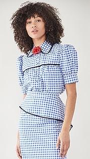 Rodarte 蕾丝饰边格子泡泡袖女式衬衫