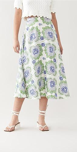 Rodarte - 花卉印花真丝斜纹织物半身裙