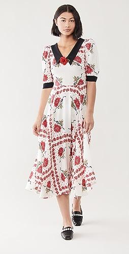 Rodarte - 红玫瑰印花衣领真丝连衣裙