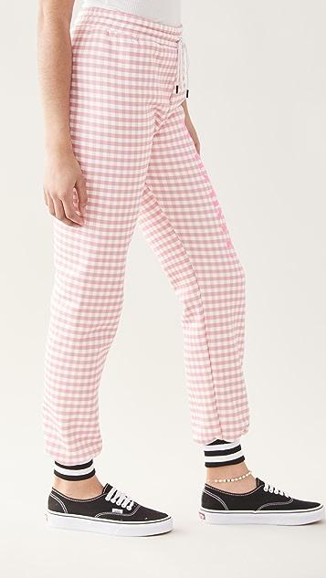 Rodarte RADARTE (RAD) Pink Gingham Printed Sweatpants