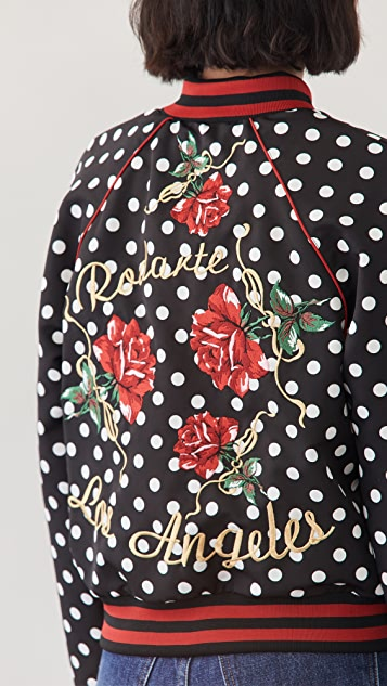 Rodarte Black and White Polka Dot Bomber Jacket
