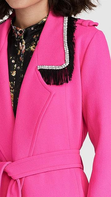 Rodarte Neon Pink Wool Trench Coat