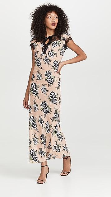 Rodarte Peach Floral Printed Silk Bias Dress with Lace