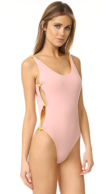 Red Carter Reversible Knot Side Swimsuit