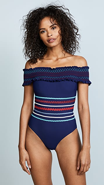Red Carter Ipanema Smocked Off Shoulder Maillot