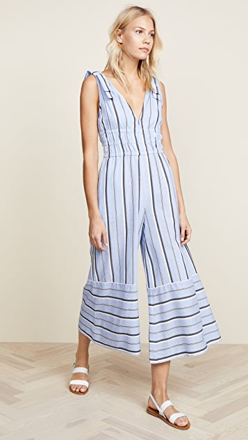 Red Carter Kelly Jumpsuit - Chambray Stripe
