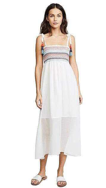 Red Carter Pippi Smocked Maxi Dress