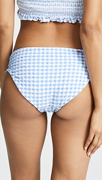 Red Carter In Stitches Smocked Hipster Bottoms