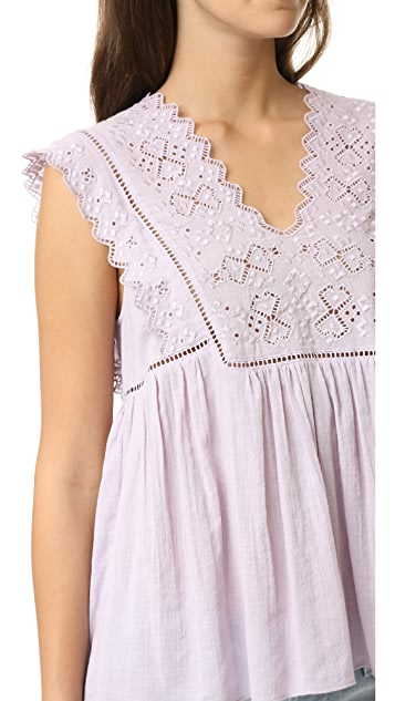 Rebecca Taylor Stitched Square Embroidered Top