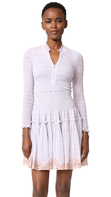 Rebecca Taylor Long Sleeve Clip Mix Dress