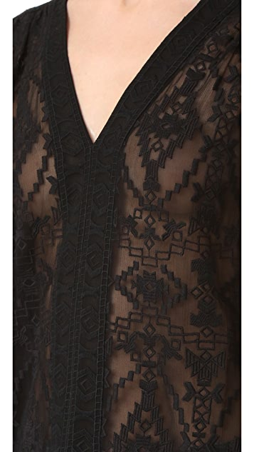 Rebecca Taylor Long Sleeve Embroidered Top