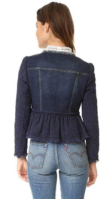 Rebecca Taylor Stretch Tweed Denim Jacket