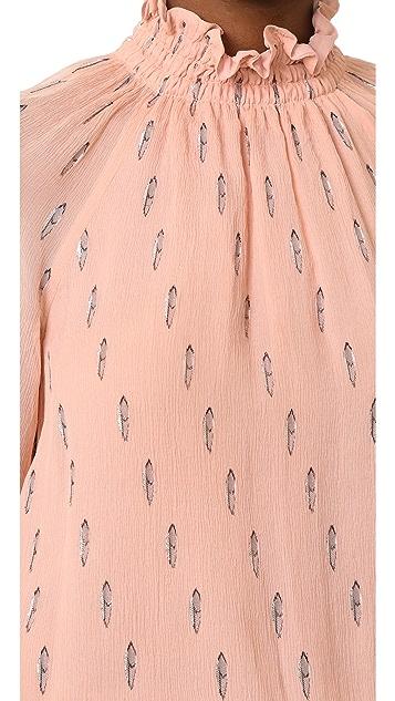 Rebecca Taylor Long Sleeve Metallic Top