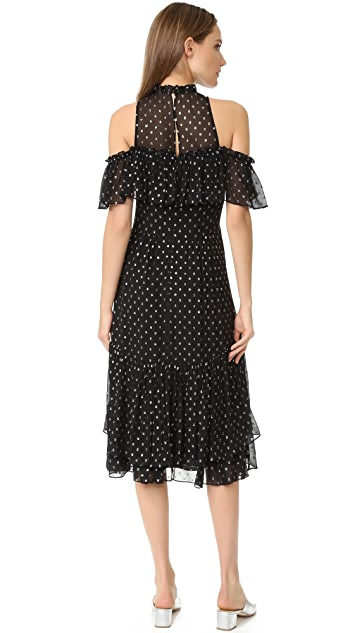 Rebecca Taylor Open Shoulder Metallic Dot Dress