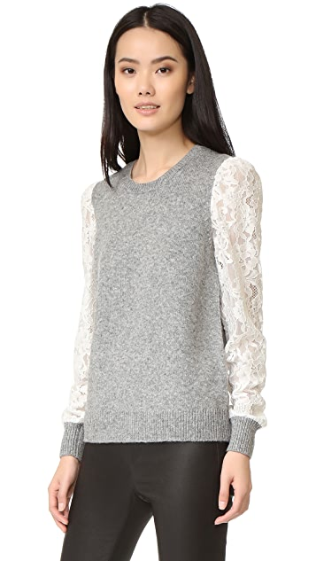 Rebecca Taylor Lace Sleeve Pullover