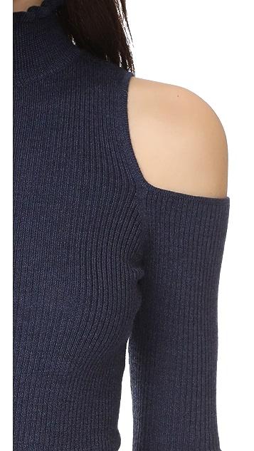 Rebecca Taylor Open Shoulder Ribbed Pullover