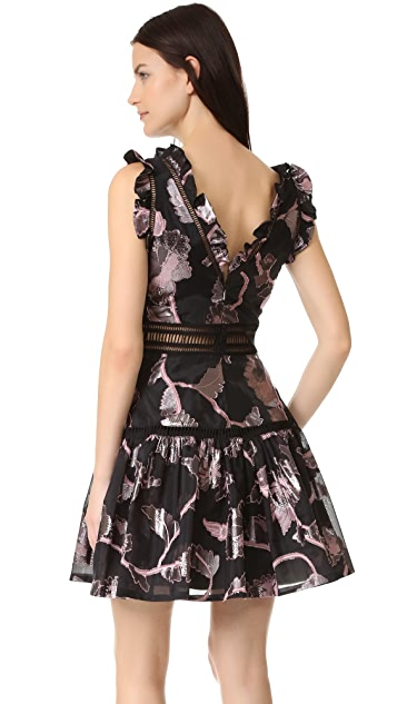 Rebecca Taylor Sleeveless Metallic V Neck Dress