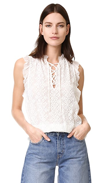Rebecca Taylor Sleeveless Florence Embroidered Top