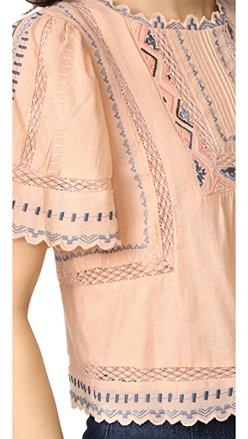 Rebecca Taylor Esme Embroidered Top