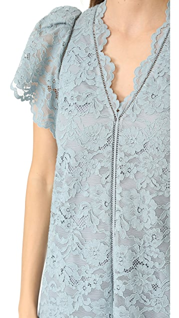 Rebecca Taylor V Neck Lace Dress