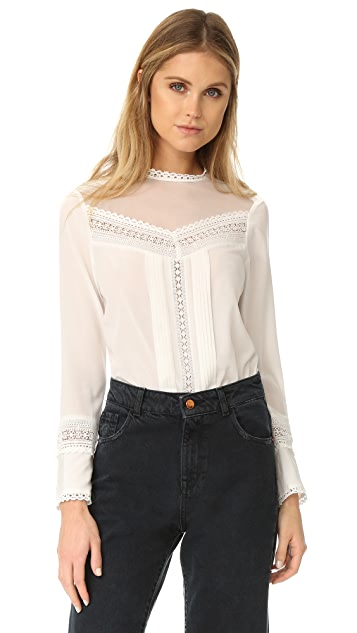 Rebecca Taylor Lace Paneled Silk Blouse