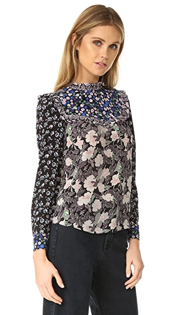 Rebecca Taylor Patched Print Top