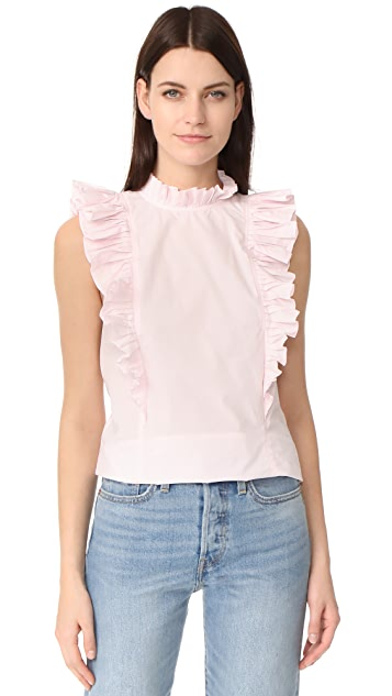 Rebecca Taylor Sleeveless Pop Pleat Top
