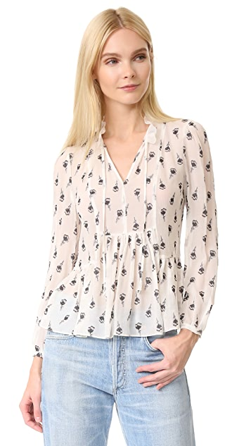 Rebecca Taylor Long Sleeve Tie Neck Top