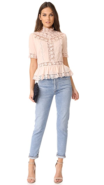 Rebecca Taylor Short Sleeve Eyelet Top