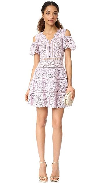 Rebecca Taylor Cold Shoulder Lace Dress