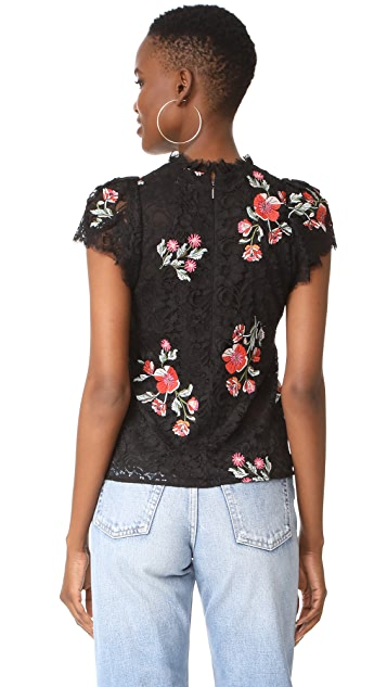Rebecca Taylor Short Sleeve Lace Top with Embroidery