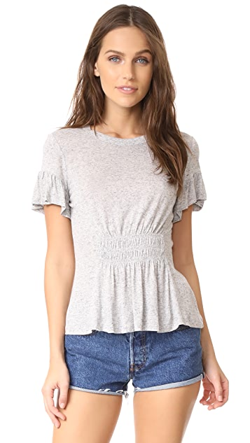 Rebecca Taylor Short Sleeve Ruched Jersey Top