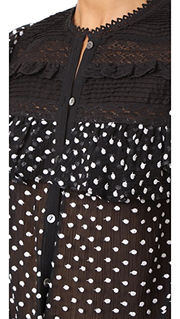 Rebecca Taylor Sleeveless Moon Dot Embroidery Top
