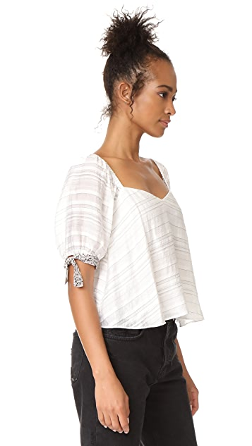 Rebecca Taylor Off Shoulder Yarn Dye Stripe Top