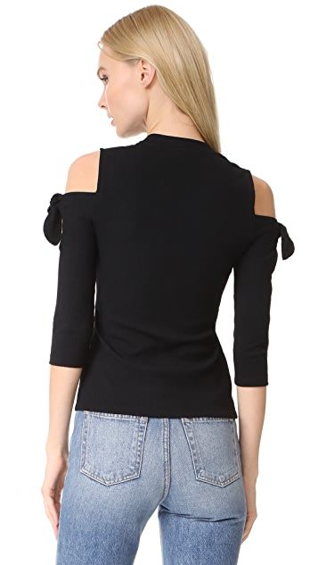 Rebecca Taylor Open Shoulder Ribbed Top