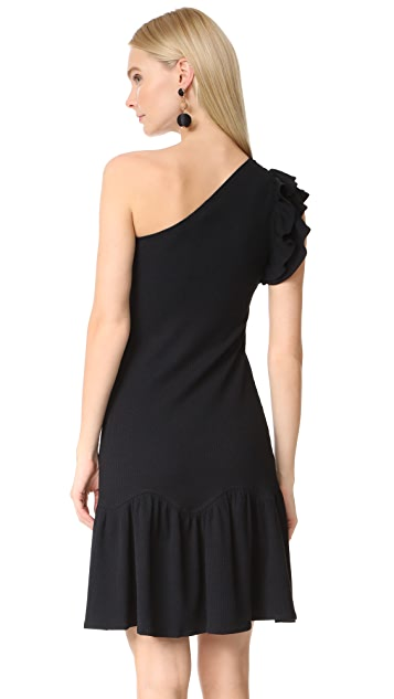 Rebecca Taylor One Shoulder Ribbed Dress