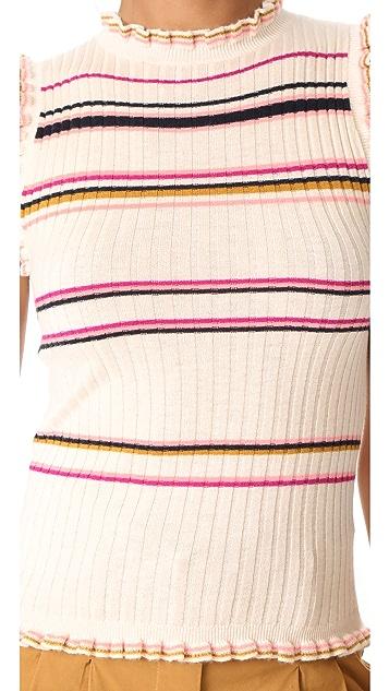 Rebecca Taylor Sleeveless Striped Rib Tank