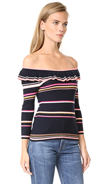 Rebecca Taylor Long Sleeve Striped Rib Pullover