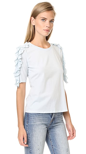 Rebecca Taylor Vintage Ruffle Jersey Tee