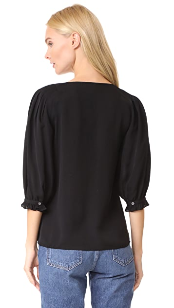 Rebecca Taylor Long Sleeve V Neck Top
