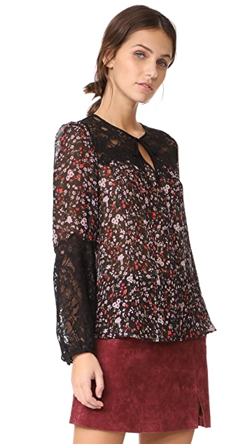 Rebecca Taylor Long Sleeve Lyra Lace Top