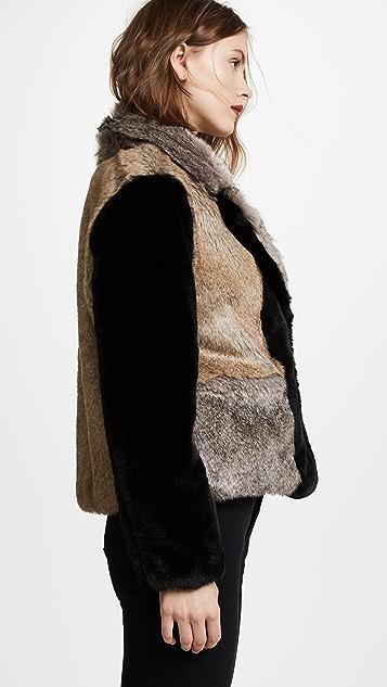 Rebecca Taylor Patched Faux Fur Jacket