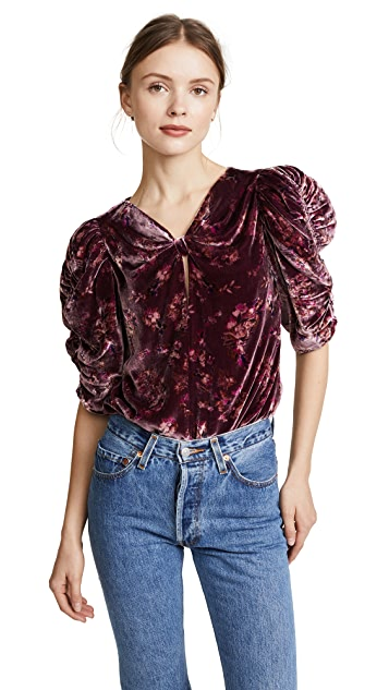 Rebecca Taylor Short Sleeve Jewel Velvet Top