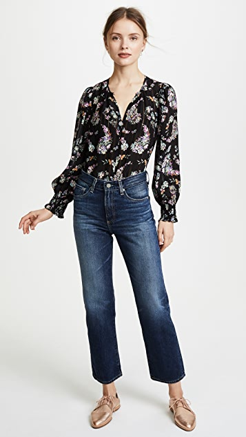 Rebecca Taylor Long Sleeve Jewel Paisley Top