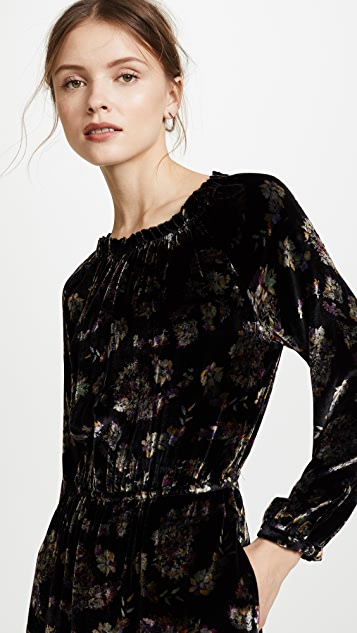 Rebecca Taylor Long Sleeve Jewel Velvet Dress