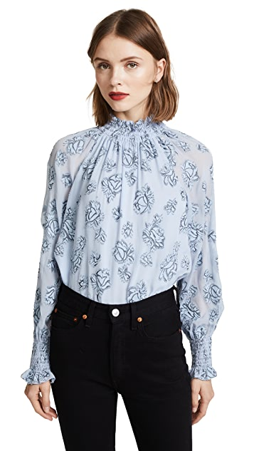 Rebecca Taylor Long Sleeve Rose Metallic Top